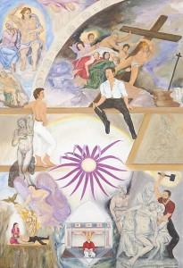 Cora A. Schwindt, 'In Kommunikation mit Michelangelo im Raum der Sixtinischen Kapelle', Öl auf Leinwand, 110x160, 2009